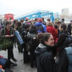Climate Camp meets at Embankment to get on the coaches to Copenhagen