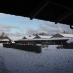 the play area behind the main building at Voldparken after a sprinkling of snow
