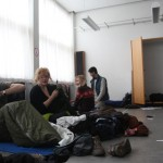 the room where I slept, laid out like a sausage, with 17 other people.
