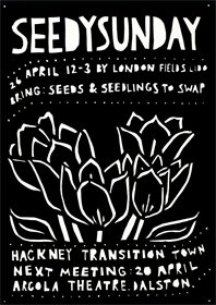 Hackney Transition Town Seedy Sunday flyer, by www.hollygregson.com/ILLUSTRATION.html