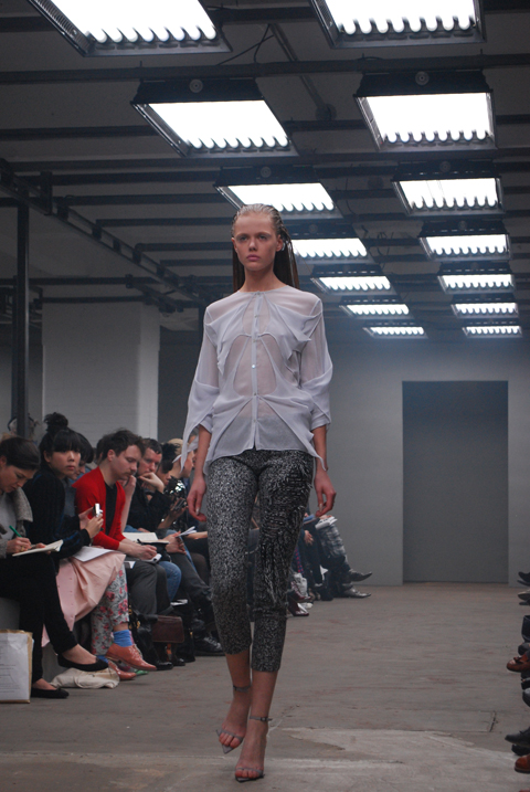 Gauze shirts with laddering boucle trousers
