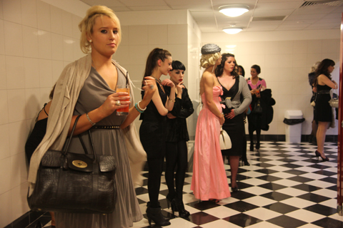 Ladies in the loo at the On/Off party.