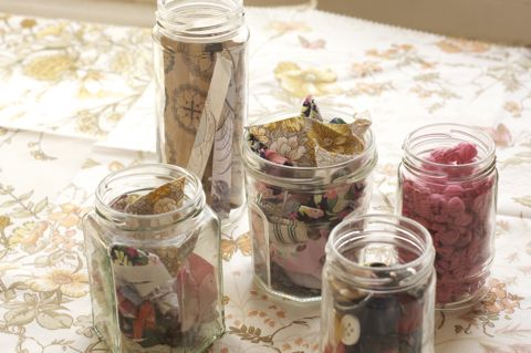 Jam jars stuffed with pretty bits