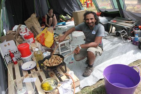 Glastonbury 2010 Climate Camp kitchen