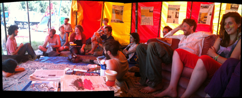 Glastonbury 2010 Climate Camp morning meeting