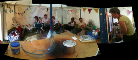 Glastonbury 2010 Climate Camp the kitchen area