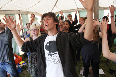 Climate Camp 2010-gaga rehearsal