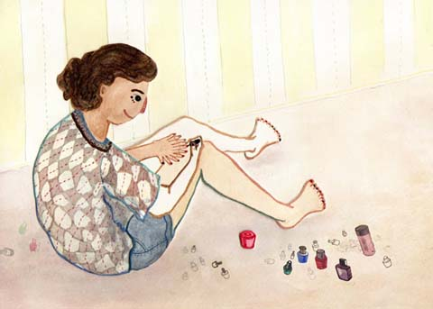 Dadalin Nimsomboon paint nails