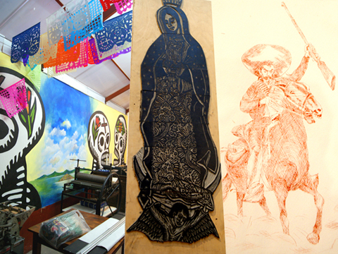5.skull painting-guadalupe-woodcut-revolutionary-etching
