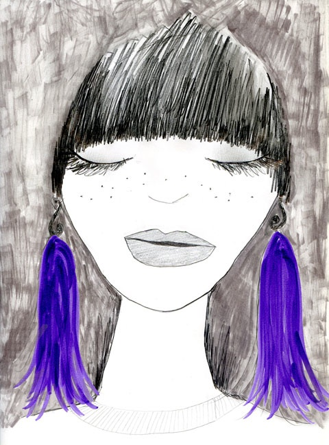 Purple tasselled earrings by Emma Turpin, illustration by Rosie Shephard