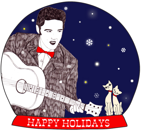 Elvis Snow Globe by Claudia Fumagalli