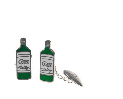 Tatty Devine gin bottle cufflinks