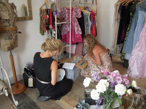Toria and Becks in the shop