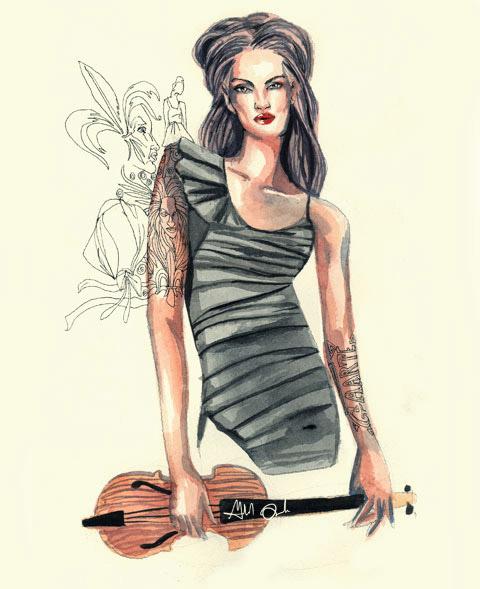 Violinist Analiza Ching by Gabriel 'Gaarte' Ayala
