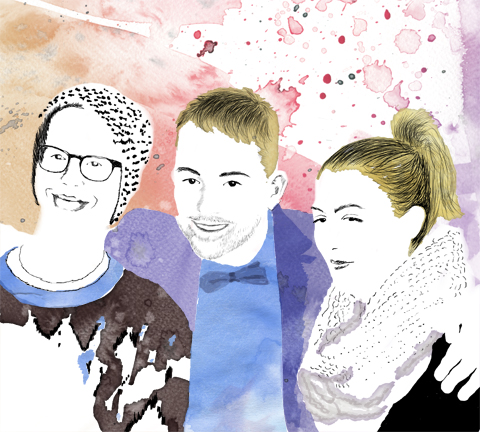 Sally Mumby-Croft at the ACOFI launch with Jonno and Matt. Illustration by Naomi Law