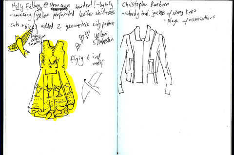 sketchbook - Holly Fulton - Christopher Raeburn - lfw aw11 - jenny robins