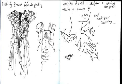 sketchbook -Jordan Azkill - Felicity Brown - lfw aw11 - jenny robins