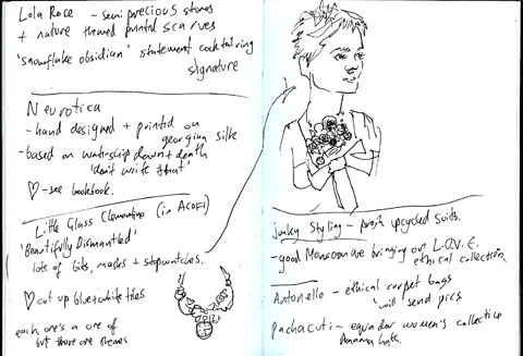 sketchbook - Little Glass Clementine - Neurotica - ethical - lfw aw11 - jenny robins