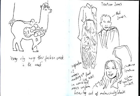 sketchbook - Teatum Jones - N2 llama - lfw aw11 - jenny robins