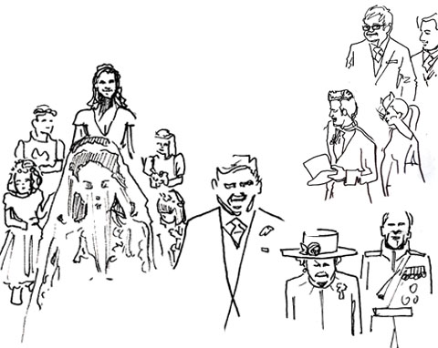 Sketches of the guests and procession by Jenny Robins