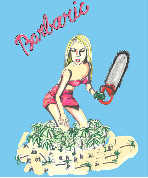 Barbie with chainsaw by Claire Byrne