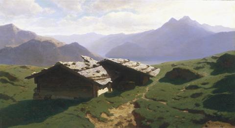 Chalets at Rigi 1861 Alexandre-Calame