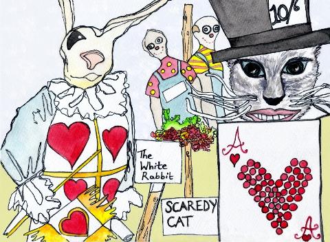 Hampton Court Garden Show Alice in Wonderland Scarecrows by Sam Parr