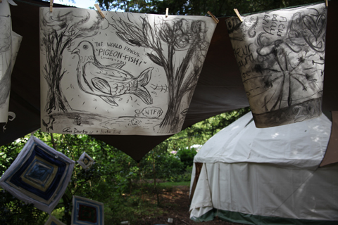 Larmer Tree Festival 2011 review woodland craft area  photo Amelia Gregory peacock
