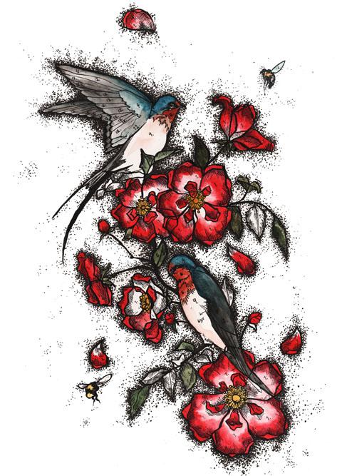 Swallows and Dog roses Beautiful Soul print by Faye West