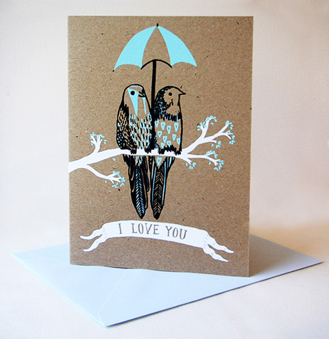 I Love You Hand Printed Card by Bonbi Forest
