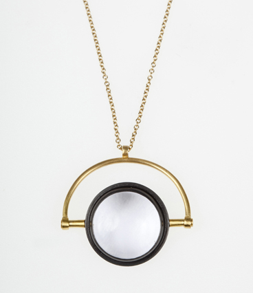 Amy Keeper - Magnifier Pendant Sterling Silver, Gold and Black Rhodium Plated, Rock Crystal