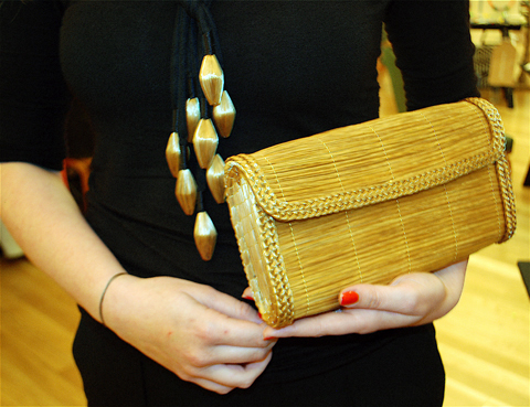EcoLuxe London LFW SS12 Golden Grass Company clutch