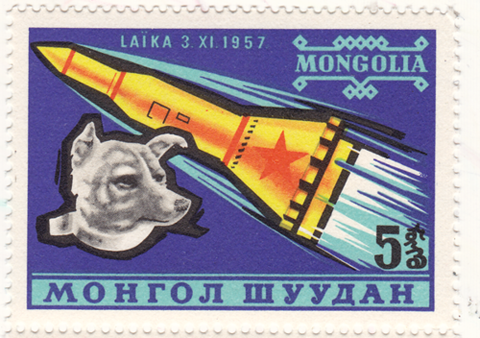 Space dog stamp