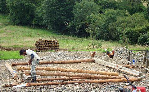 Building a timber-frame barn wall at Tir y Gafel