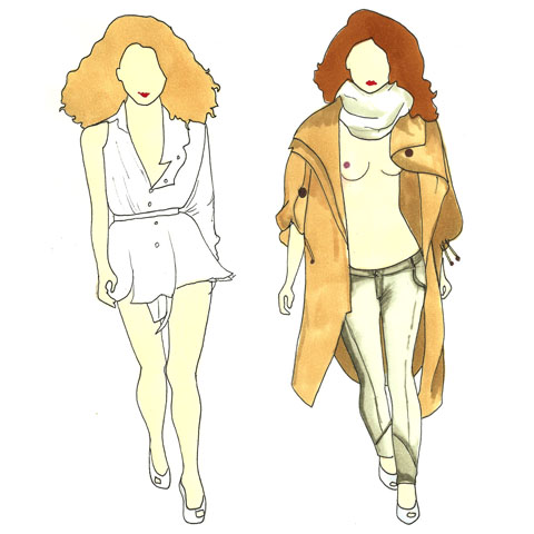 Jena Theo 2 - Illustration by Phoebe Kirk - London Fashion Week S/S 2012