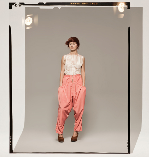 Prose SS 2012 skeleton_lace_top_tight_-baggy_pants_front