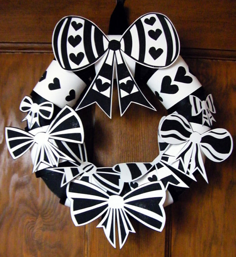Anissa Lee Black and White Hand Cut Paper Bow and Heart Wreath