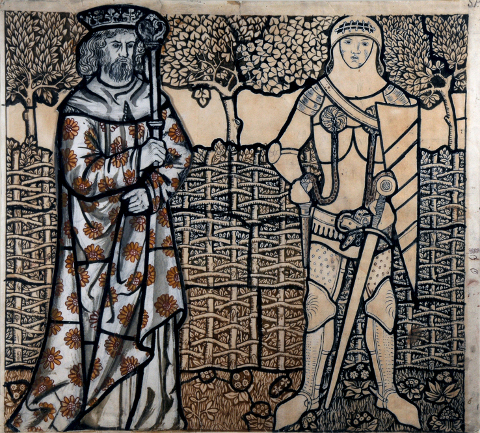 William Morris Story Memory Myth Arthur and Lancelot glass panel