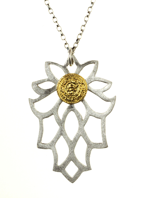Sima Vaziry Bloom gold necklace silver clay metal