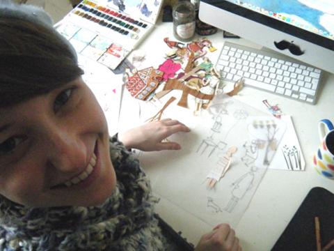 Emma Block at work at her desk