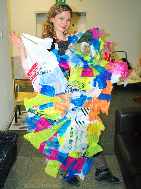LCC Green Week Sarah Bagner from Supermarket Sarah with plastic bags quilt photo by Maria Papadimitriou
