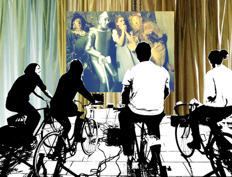 LCC Green Week pop-up bicycle powered cinema by Maria Papadimitriou aka Slowly The Eggs