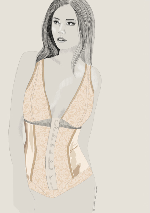 Charini lingerie S/S 2012 illustration by Mitika Chohan