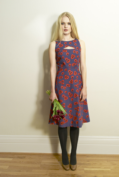 Beautiful Soul AW12 Rina Dress Mid-Poppy Navy