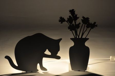 James Uren black lamps - Mr Meow and The Vase