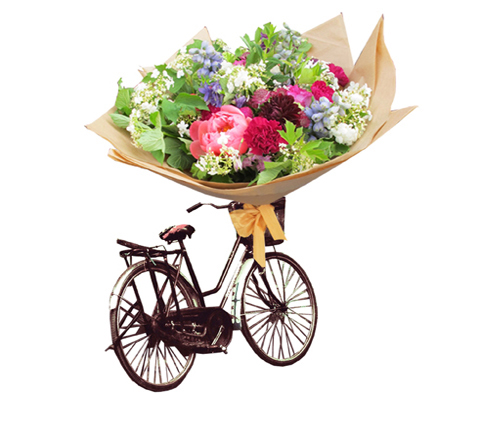 The Flower Appreciation Society bike and bouquet