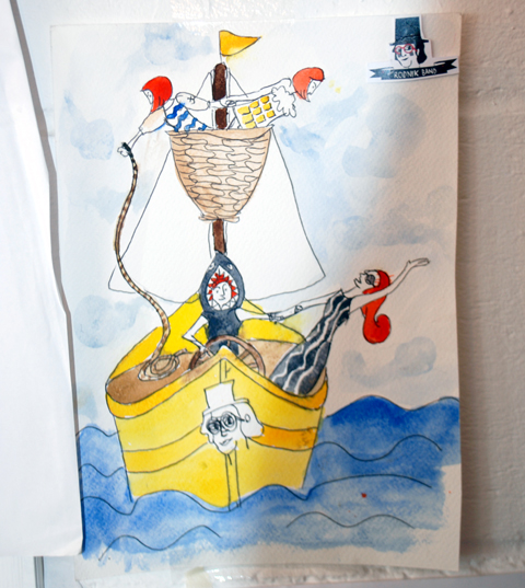 The Rodnik Band studio 2012 'Cod Save the Sea' boat scenario sketch by Phil Colbert photo by Maria Papadimitriou