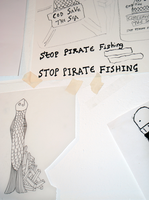 The Rodnik Band studio 2012 'Cod Save the Sea' stop pirate fishing slogan sketch by Phil Colbert photo by Maria Papadimitriou