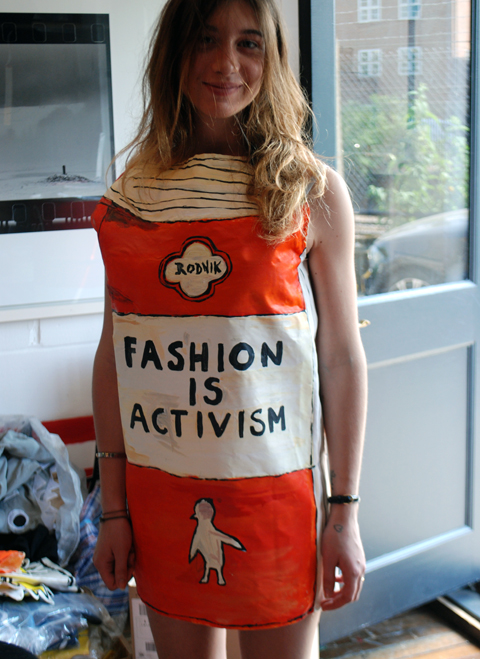The Rodnik Band studio 2012 Giulia wearing the 'Fashion is Activism' book dress by Phil Colbert photo by Maria Papadimitriou.jpg