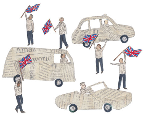 Olympics Closing Ceremony Newspaper Cars by Olivia Cook